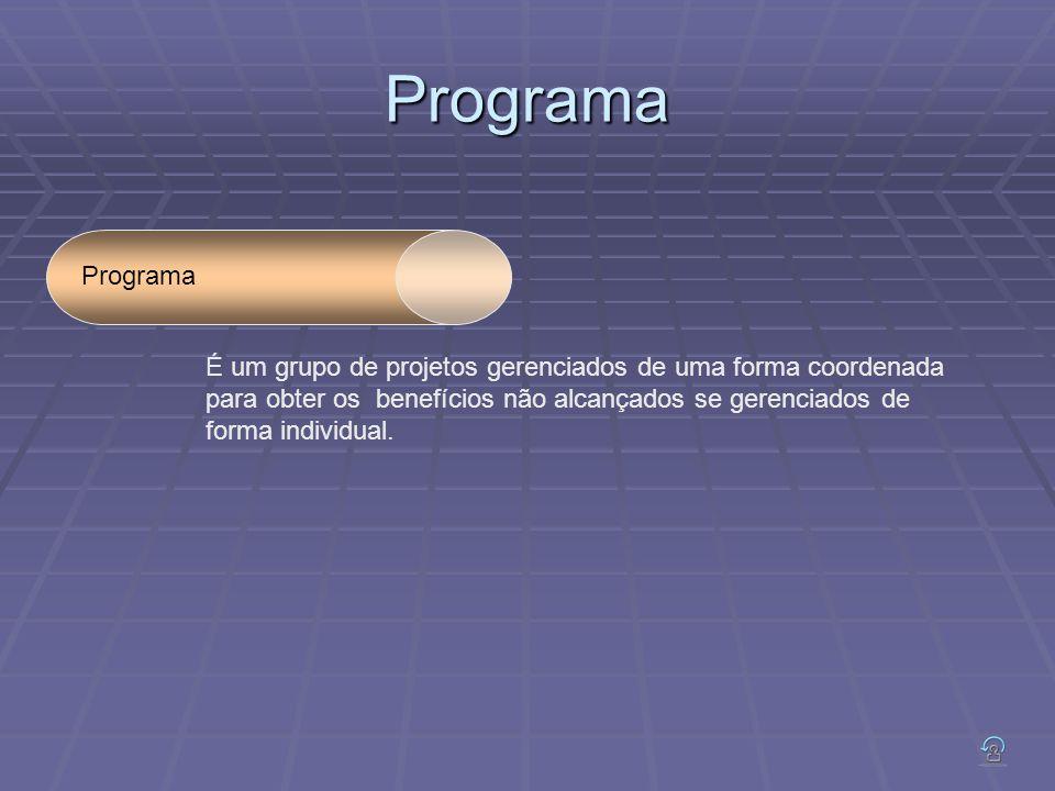 Programa Programa É um grupo de projetos gerenciados de uma forma coordenada para obter os benefícios não alcançados se gerenciados de forma individual.