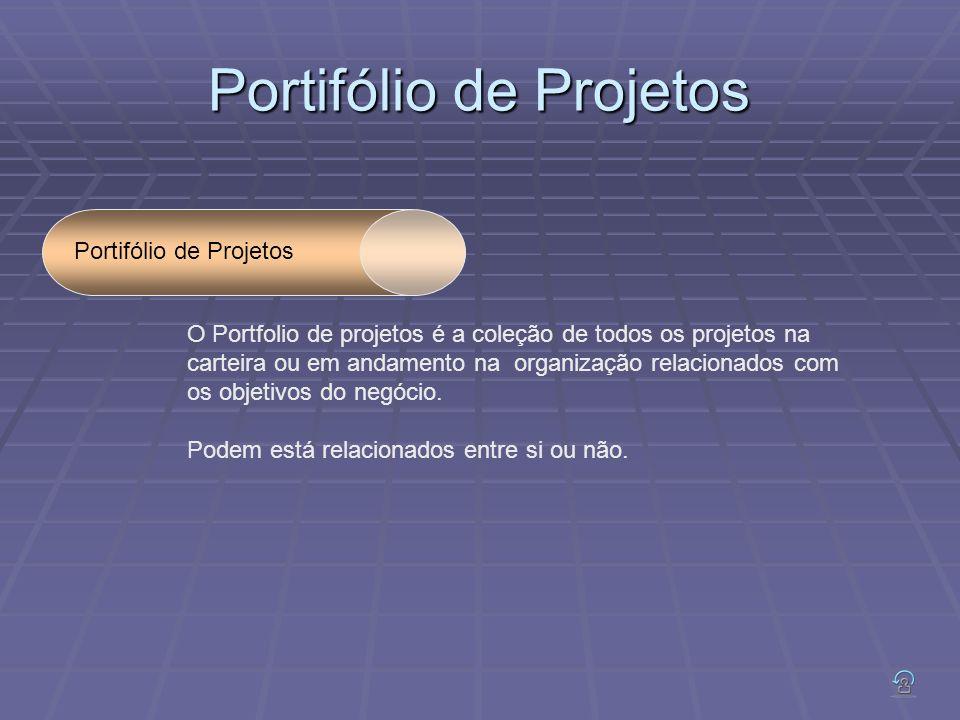 Portifólio de Projetos O Portfolio de projetos é a coleção de todos os projetos na carteira ou em andamento na organização relacionados com os objetivos do negócio.