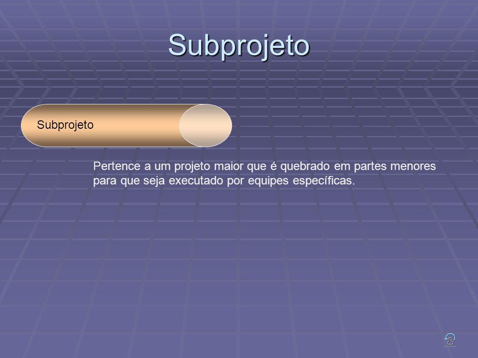 Subprojeto Subprojeto Pertence a um projeto maior que é quebrado em partes menores para que seja executado por equipes específicas.