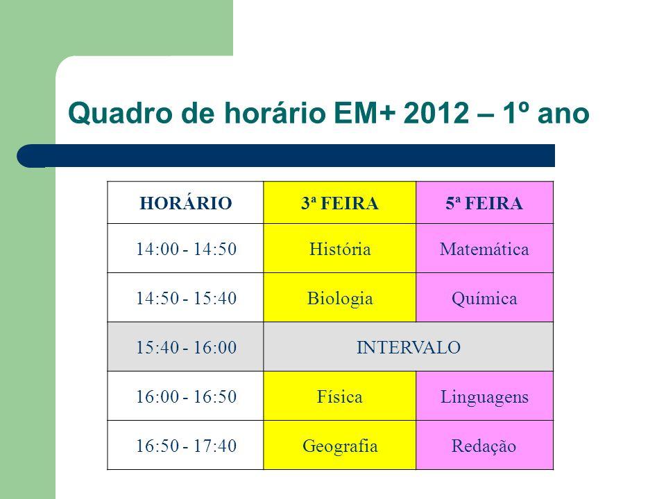 Quadro de horário EM+ 2012 – 1º ano HORÁRIO3ª FEIRA5ª FEIRA 14:00 - 14:50HistóriaMatemática 14:50 - 15:40BiologiaQuímica 15:40 - 16:00INTERVALO 16:00