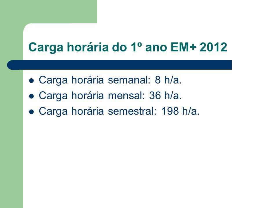 Carga horária do 1º ano EM+ 2012 Carga horária semanal: 8 h/a. Carga horária mensal: 36 h/a. Carga horária semestral: 198 h/a.
