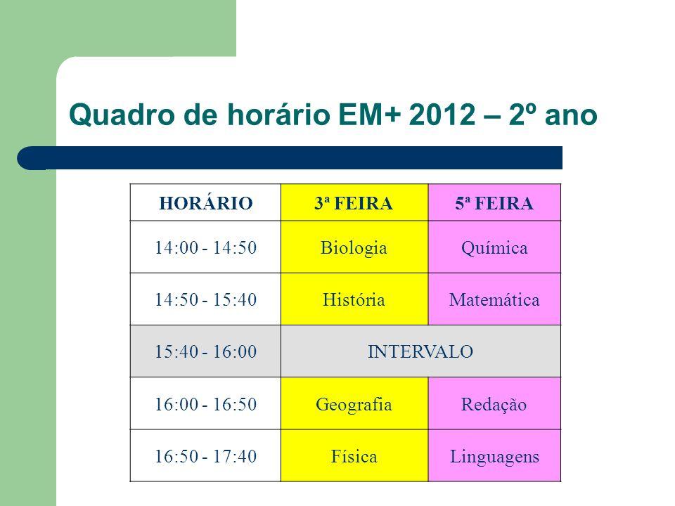 Quadro de horário EM+ 2012 – 2º ano HORÁRIO3ª FEIRA5ª FEIRA 14:00 - 14:50BiologiaQuímica 14:50 - 15:40HistóriaMatemática 15:40 - 16:00INTERVALO 16:00