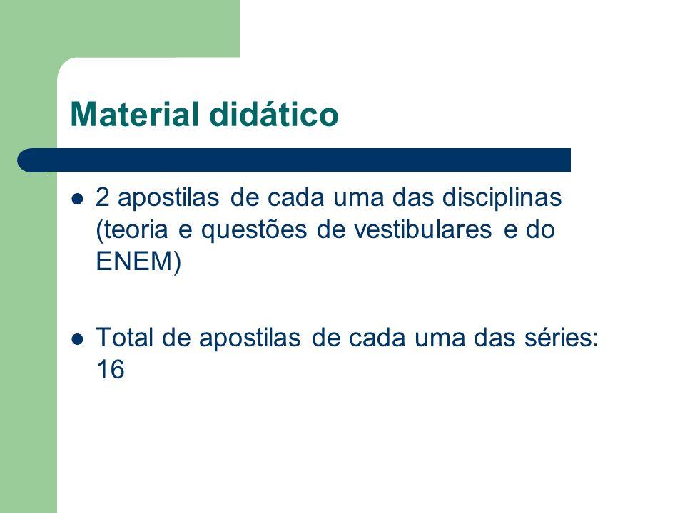 Material didático 2 apostilas de cada uma das disciplinas (teoria e questões de vestibulares e do ENEM) Total de apostilas de cada uma das séries: 16