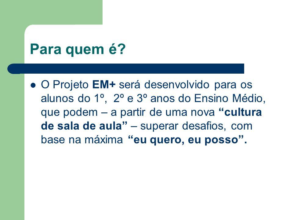 Para quem é? O Projeto EM+ será desenvolvido para os alunos do 1º, 2º e 3º anos do Ensino Médio, que podem – a partir de uma nova cultura de sala de a