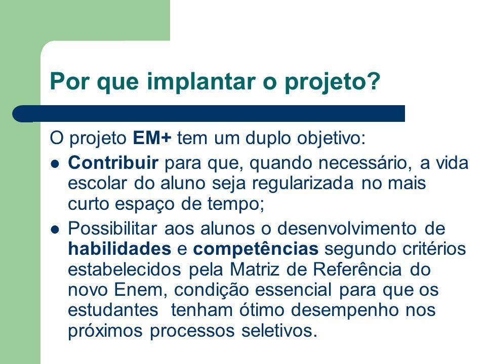 Por que implantar o projeto? O projeto EM+ tem um duplo objetivo: Contribuir para que, quando necessário, a vida escolar do aluno seja regularizada no