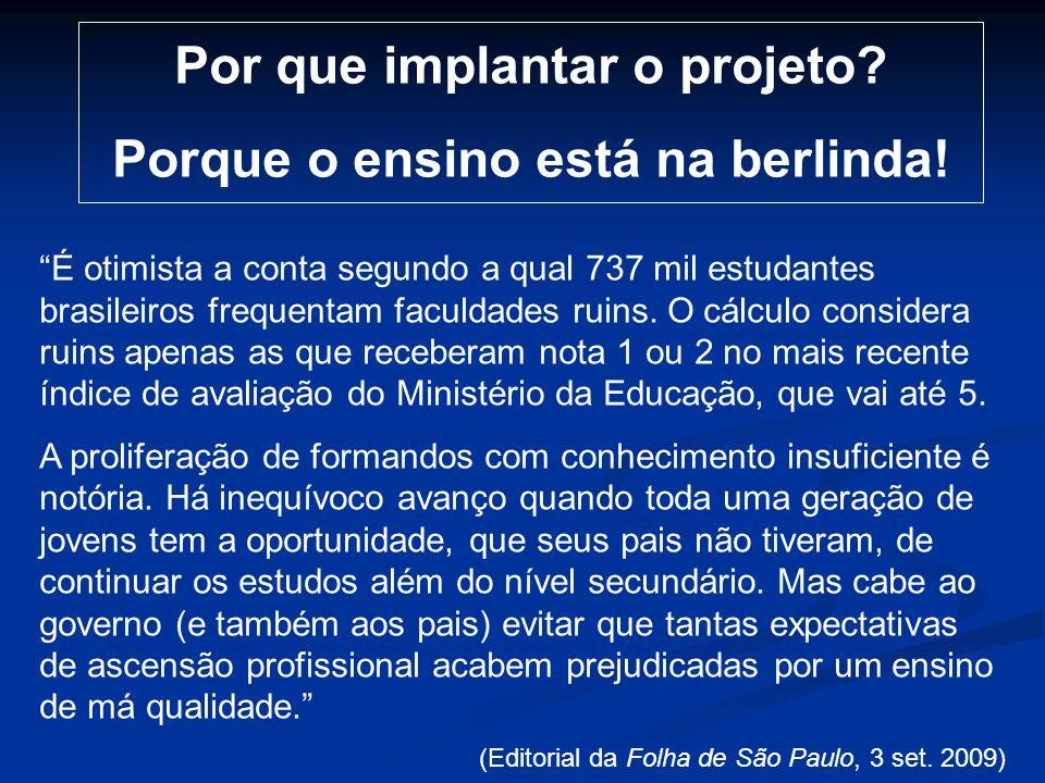 Por que implantar o projeto? Porque o ensino está na berlinda! É otimista a conta segundo a qual 737 mil estudantes brasileiros frequentam faculdades