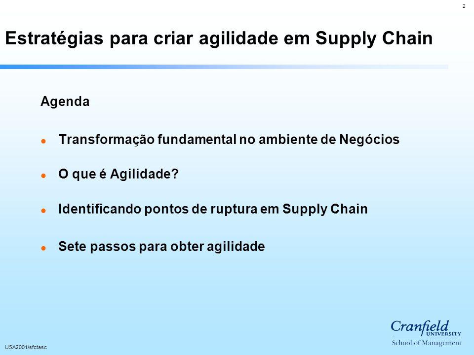 2 USA2001/sfctasc Estratégias para criar agilidade em Supply Chain Agenda l Transformação fundamental no ambiente de Negócios l O que é Agilidade.