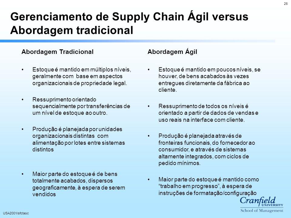 26 USA2001/sfctasc Gerenciamento de Supply Chain Ágil versus Abordagem tradicional Abordagem Tradicional Estoque é mantido em múltiplos níveis, geralmente com base em aspectos organizacionais de propriedade legal.