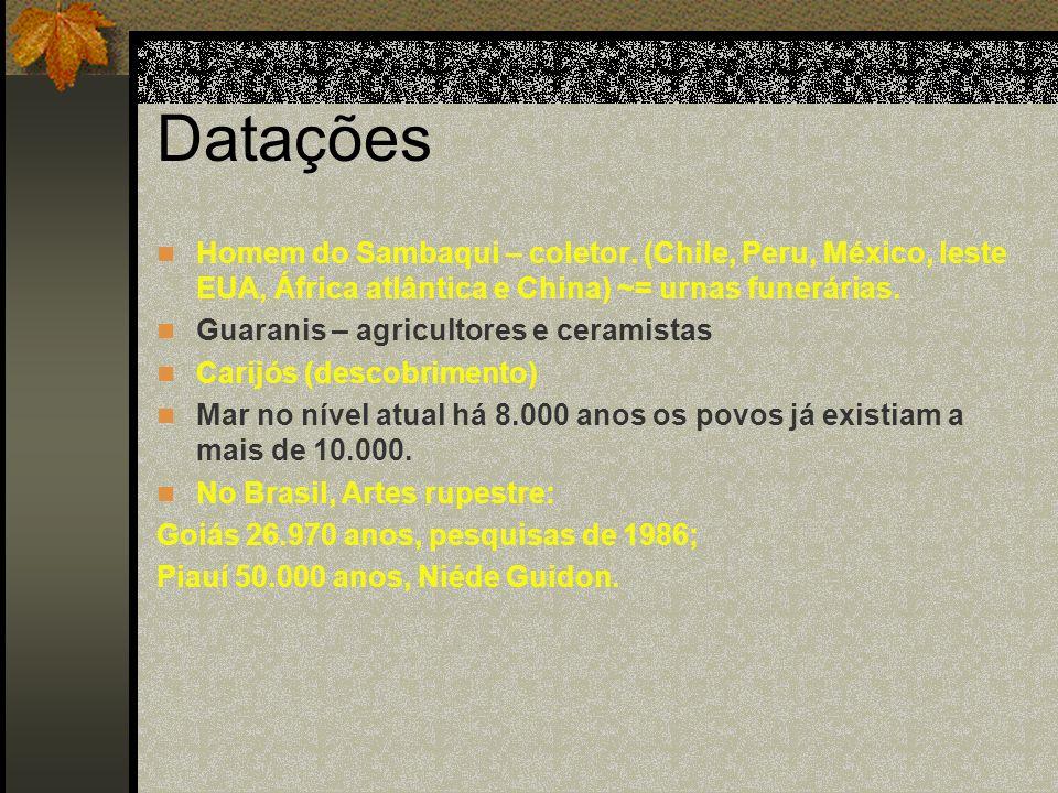 Datações Homem do Sambaqui – coletor. (Chile, Peru, México, leste EUA, África atlântica e China) ~= urnas funerárias. Guaranis – agricultores e cerami