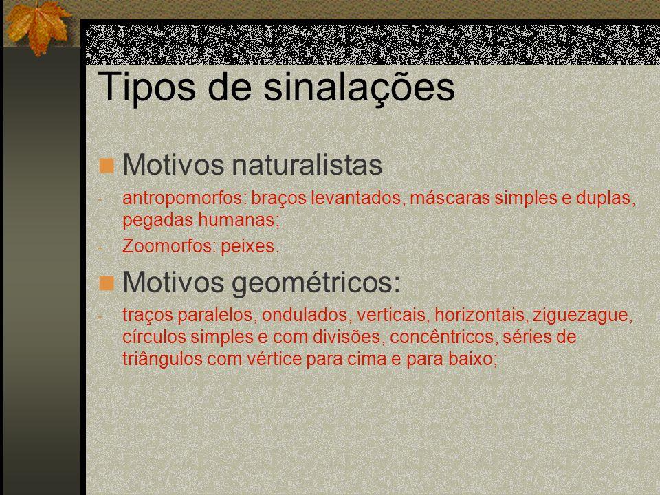 Tipos de sinalações Motivos naturalistas - antropomorfos: braços levantados, máscaras simples e duplas, pegadas humanas; - Zoomorfos: peixes. Motivos