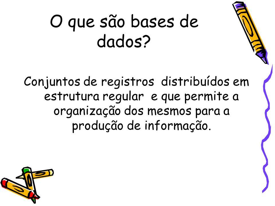 O que são bases de dados? Conjuntos de registros distribuídos em estrutura regular e que permite a organização dos mesmos para a produção de informaçã