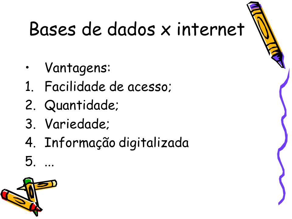 Bases de dados x internet Desvantagens/dificuldades: 1.Variações de conteúdo; 2.Confiabilidade dos sites; 3.Seleção das informações.
