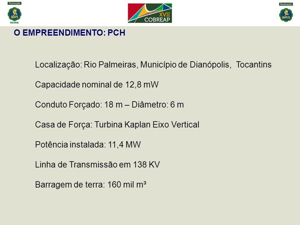 O EMPREENDIMENTO: PCH Localização: Rio Palmeiras, Município de Dianópolis, Tocantins Capacidade nominal de 12,8 mW Conduto Forçado: 18 m – Diâmetro: 6