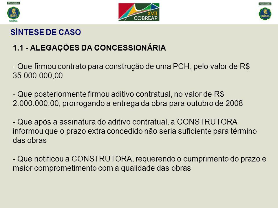 SÍNTESE DE CASO 1.1 - ALEGAÇÕES DA CONCESSIONÁRIA - Que firmou contrato para construção de uma PCH, pelo valor de R$ 35.000.000,00 - Que posteriorment