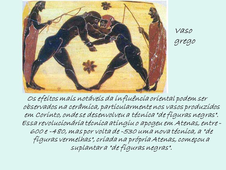 Os efeitos mais notáveis da influência oriental podem ser observados na cerâmica, particularmente nos vasos produzidos em Corinto, onde se desenvolveu