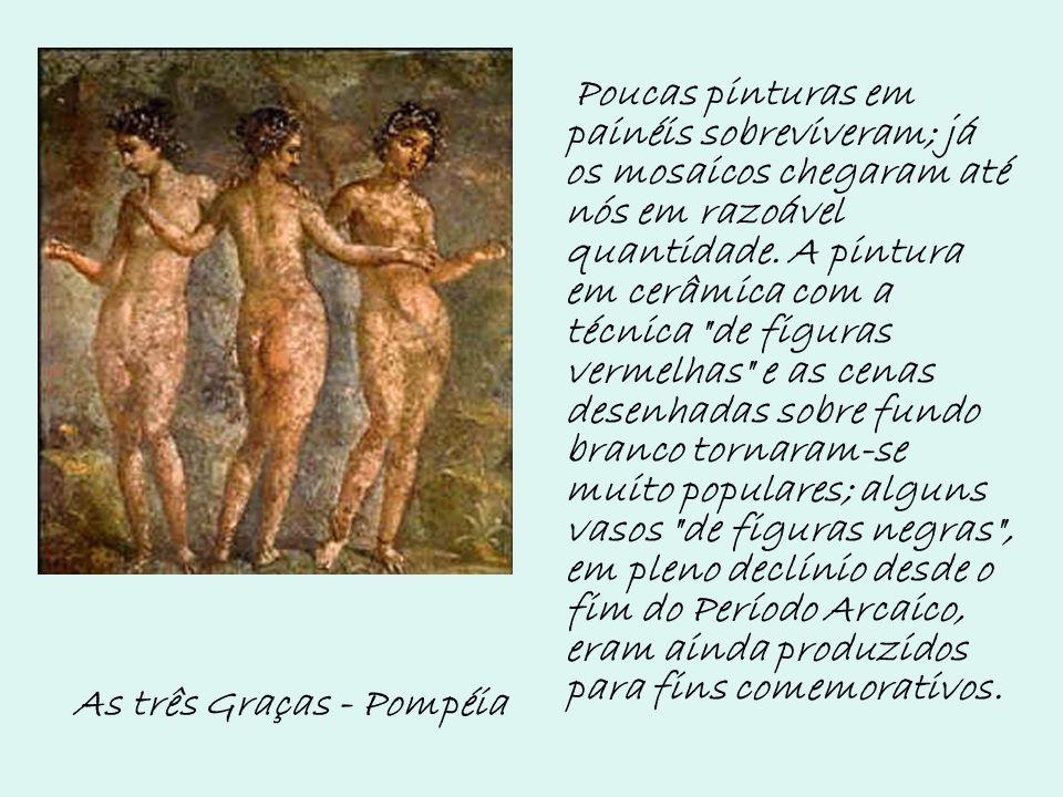Poucas pinturas em painéis sobreviveram; já os mosaicos chegaram até nós em razoável quantidade. A pintura em cerâmica com a técnica