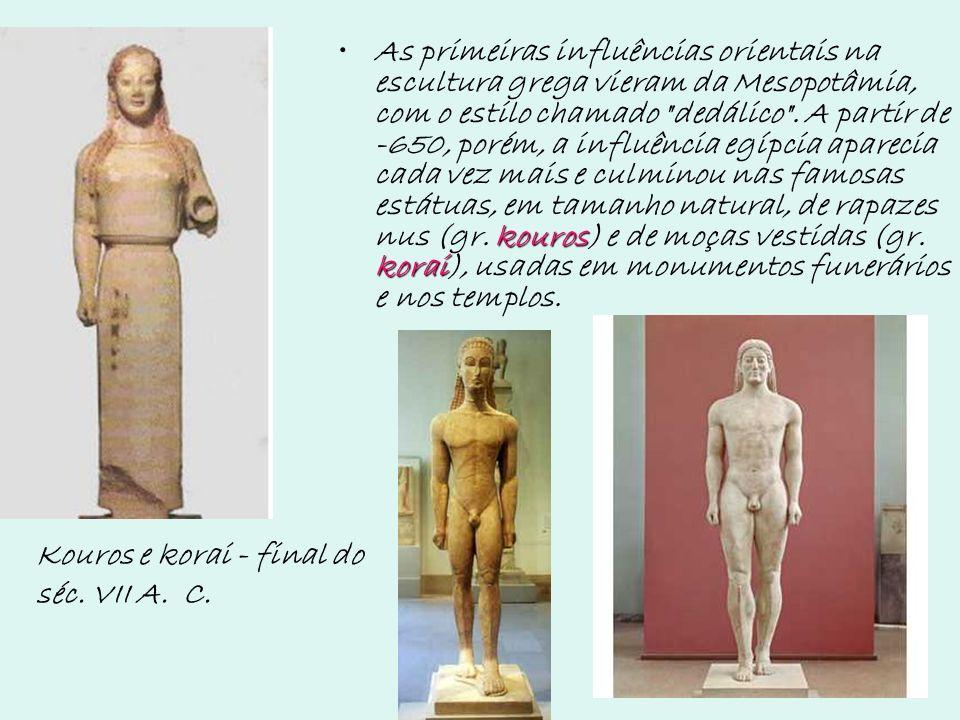 kouros koraiAs primeiras influências orientais na escultura grega vieram da Mesopotâmia, com o estilo chamado
