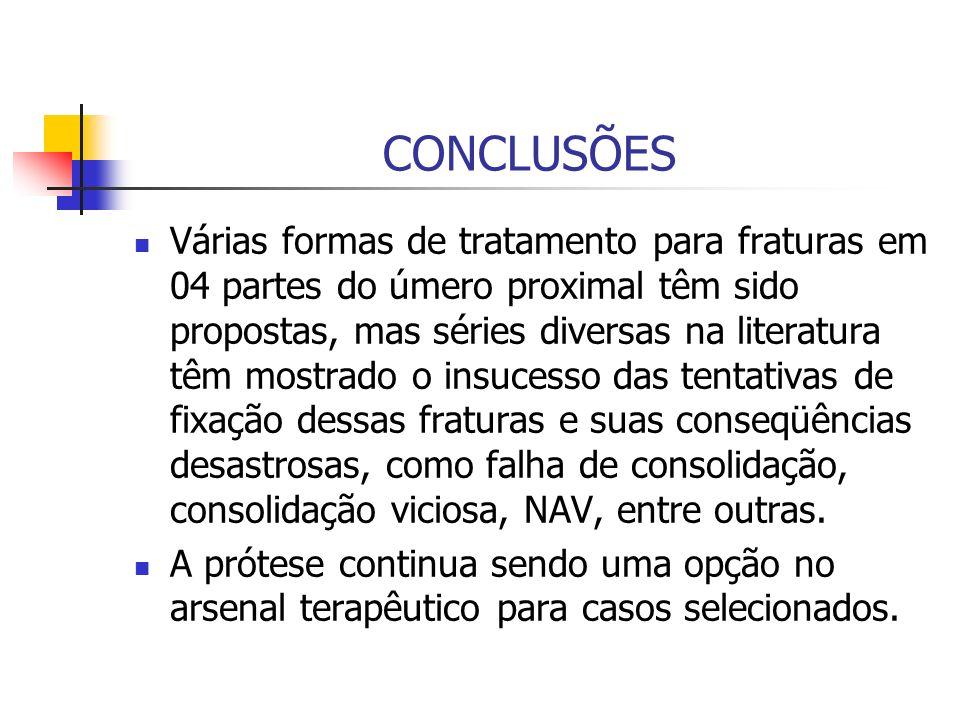 CONCLUSÕES Várias formas de tratamento para fraturas em 04 partes do úmero proximal têm sido propostas, mas séries diversas na literatura têm mostrado