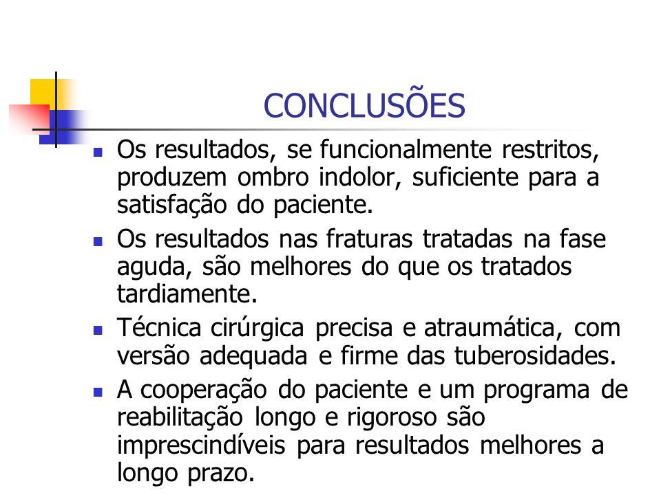 CONCLUSÕES Os resultados, se funcionalmente restritos, produzem ombro indolor, suficiente para a satisfação do paciente. Os resultados nas fraturas tr