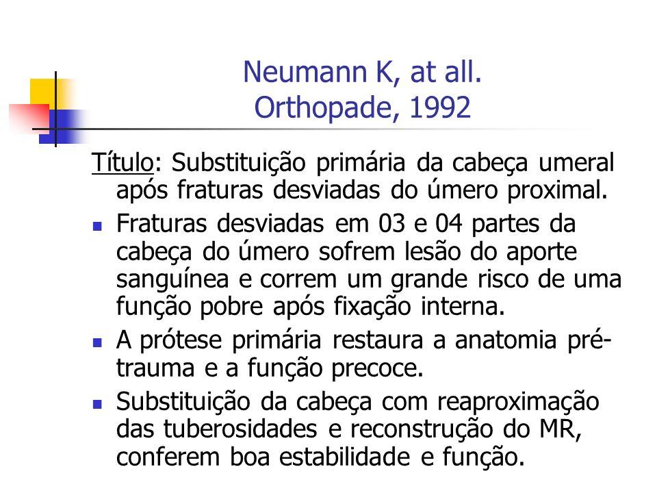 Neumann K, at all. Orthopade, 1992 Título: Substituição primária da cabeça umeral após fraturas desviadas do úmero proximal. Fraturas desviadas em 03