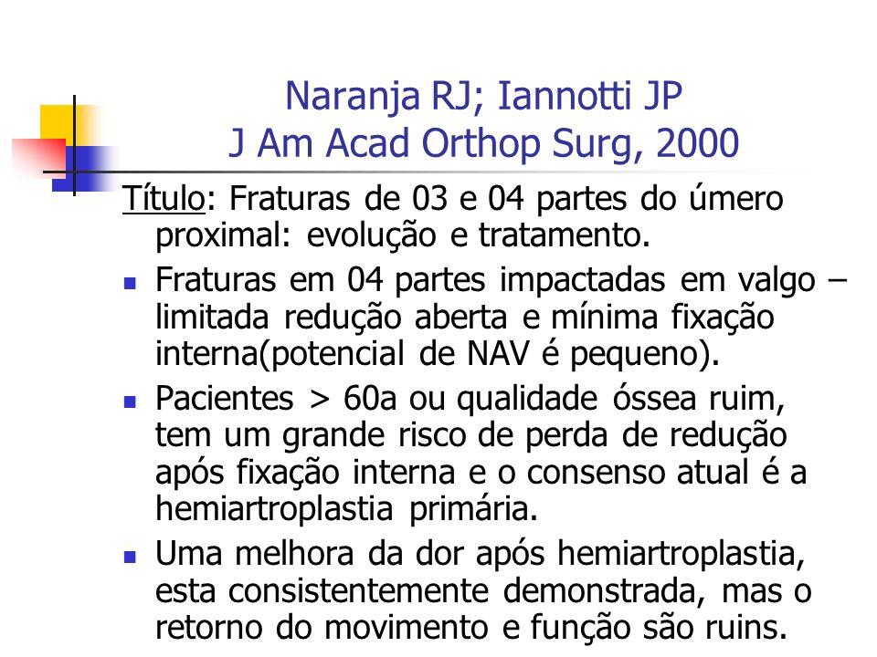 Naranja RJ; Iannotti JP J Am Acad Orthop Surg, 2000 Título: Fraturas de 03 e 04 partes do úmero proximal: evolução e tratamento. Fraturas em 04 partes