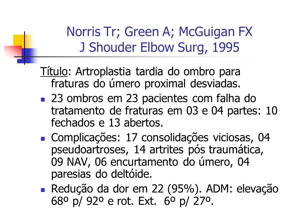 Norris Tr; Green A; McGuigan FX J Shouder Elbow Surg, 1995 Título: Artroplastia tardia do ombro para fraturas do úmero proximal desviadas. 23 ombros e