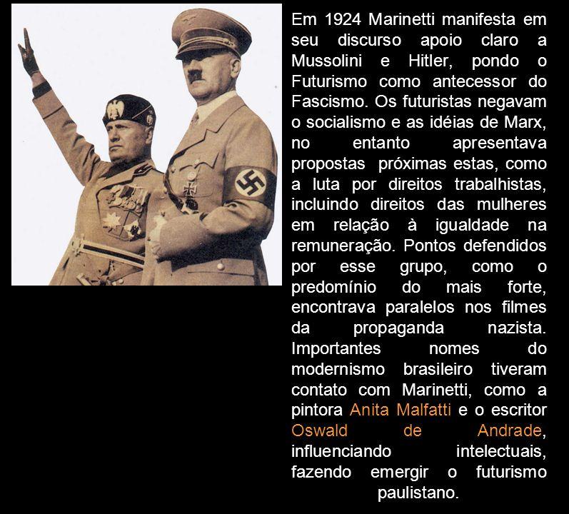 Em 1924 Marinetti manifesta em seu discurso apoio claro a Mussolini e Hitler, pondo o Futurismo como antecessor do Fascismo. Os futuristas negavam o s