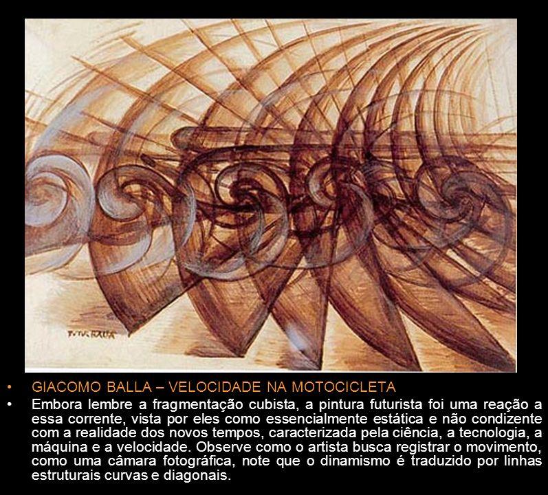 MARCEL DUCHAMP – NU DESCENDO A ESCADA Embora nunca tenha se manifestado como futurista, Marcel Duchamp e suas propostas caiu nas graças dos artistas dessa corrente, principalmente esta obra, na qual o artista gera um ritmo intenso por meio da repetição de padrões geométricos na imagem, fragmentando a forma.