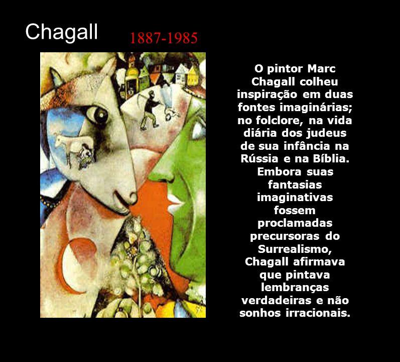 O pintor Marc Chagall colheu inspiração em duas fontes imaginárias; no folclore, na vida diária dos judeus de sua infância na Rússia e na Bíblia. Embo