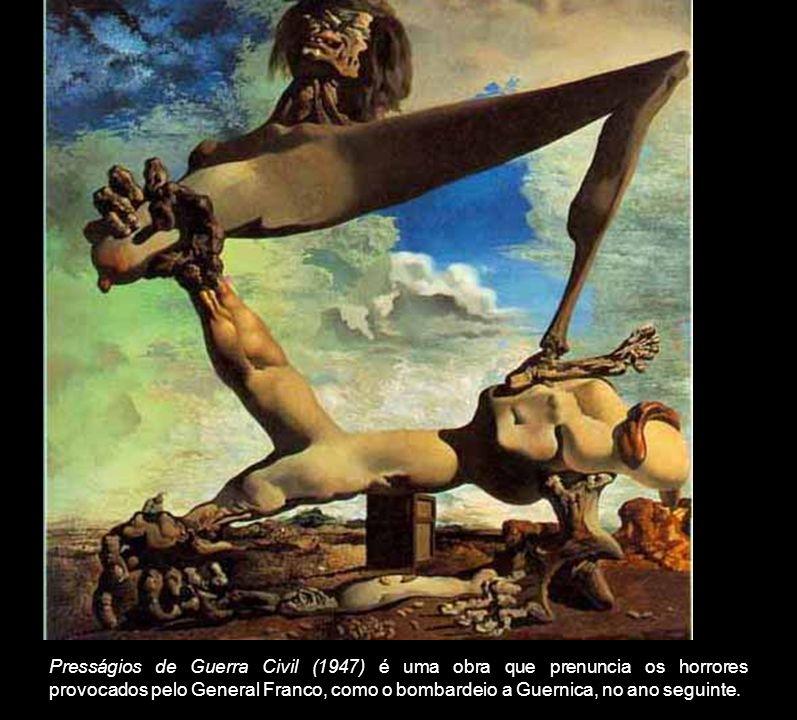 Presságios de Guerra Civil (1947) é uma obra que prenuncia os horrores provocados pelo General Franco, como o bombardeio a Guernica, no ano seguinte.