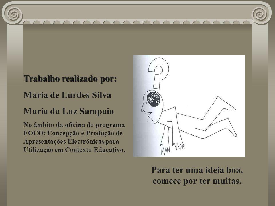 Trabalho realizado por: Maria de Lurdes Silva Maria da Luz Sampaio No âmbito da oficina do programa FOCO: Concepção e Produção de Apresentações Electr