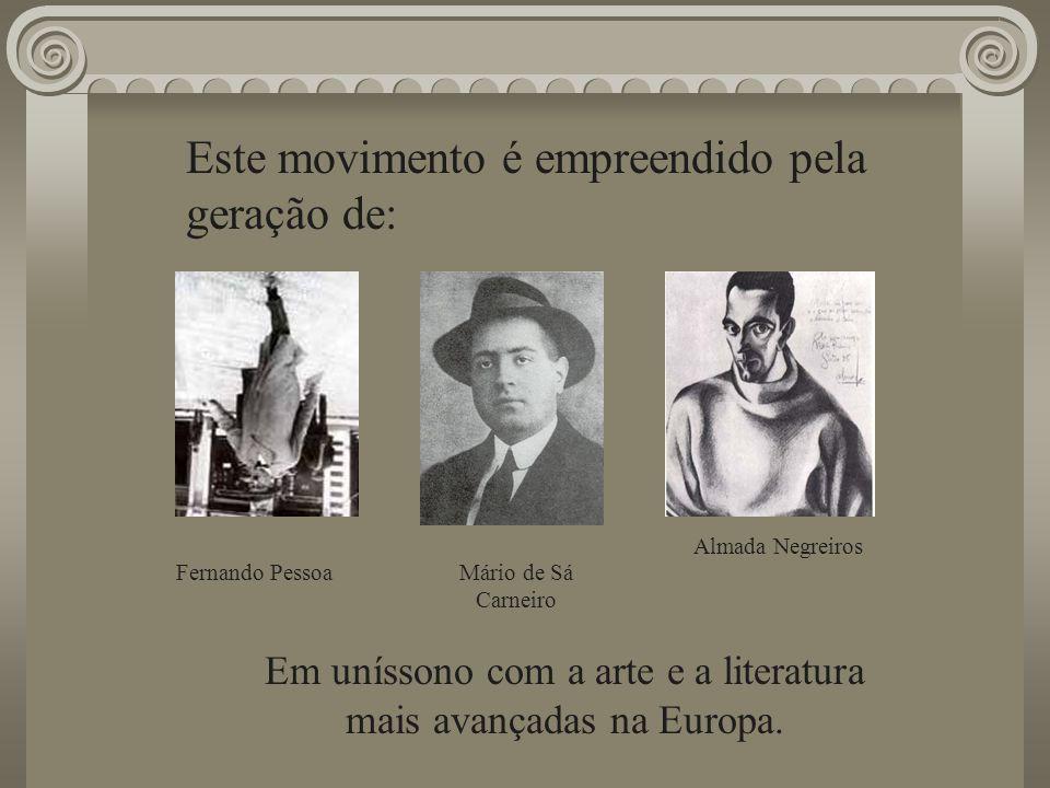 Este movimento é empreendido pela geração de: Almada Negreiros Fernando Pessoa Em uníssono com a arte e a literatura mais avançadas na Europa. Mário d