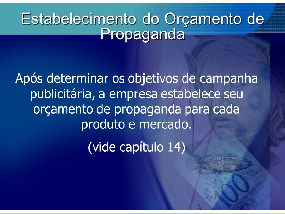 Após determinar os objetivos de campanha publicitária, a empresa estabelece seu orçamento de propaganda para cada produto e mercado. (vide capítulo 14
