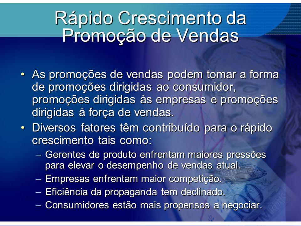 Rápido Crescimento da Promoção de Vendas As promoções de vendas podem tomar a forma de promoções dirigidas ao consumidor, promoções dirigidas às empre