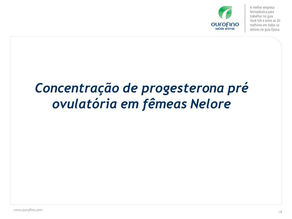 www.ourofino.com 19 Concentração de progesterona pré ovulatória em fêmeas Nelore