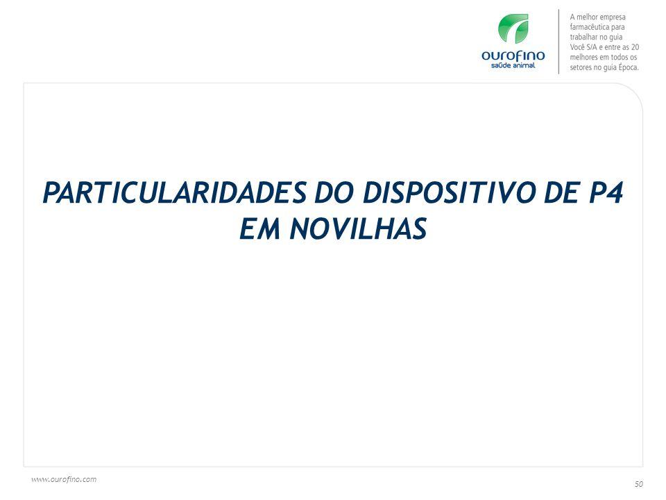 www.ourofino.com 50 PARTICULARIDADES DO DISPOSITIVO DE P4 EM NOVILHAS