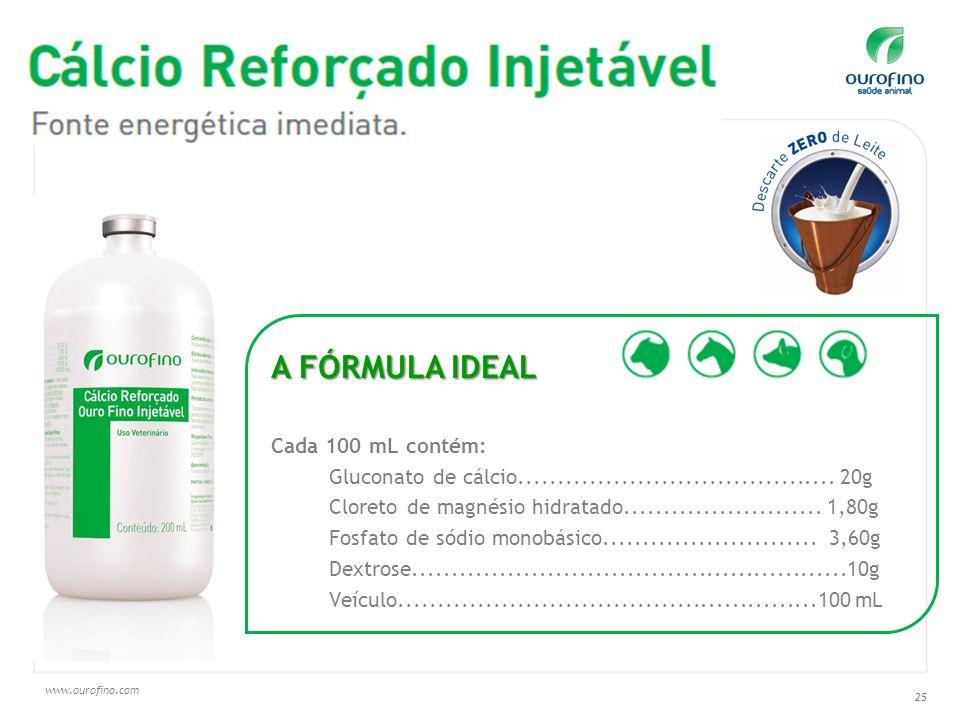 www.ourofino.com 25 A FÓRMULA IDEAL Cada 100 mL contém: Gluconato de cálcio........................................ 20g Cloreto de magnésio hidratado.