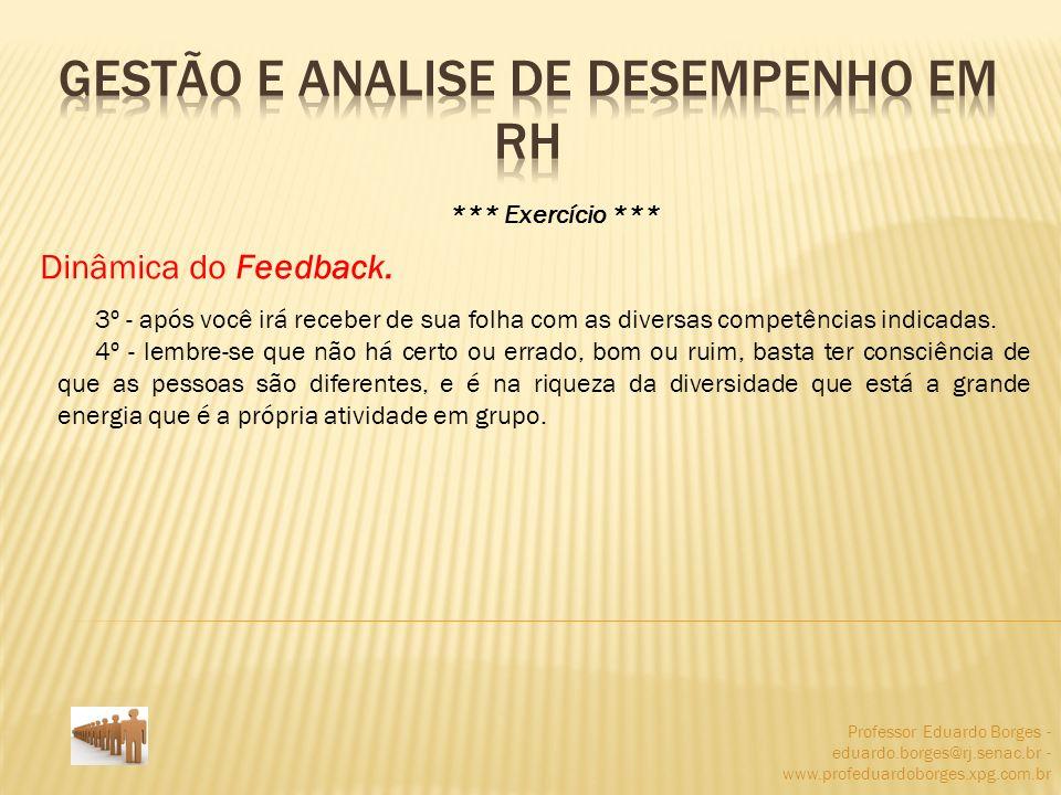Professor Eduardo Borges - eduardo.borges@rj.senac.br - www.profeduardoborges.xpg.com.br *** Exercício *** Dinâmica do Feedback. 3º - após você irá re