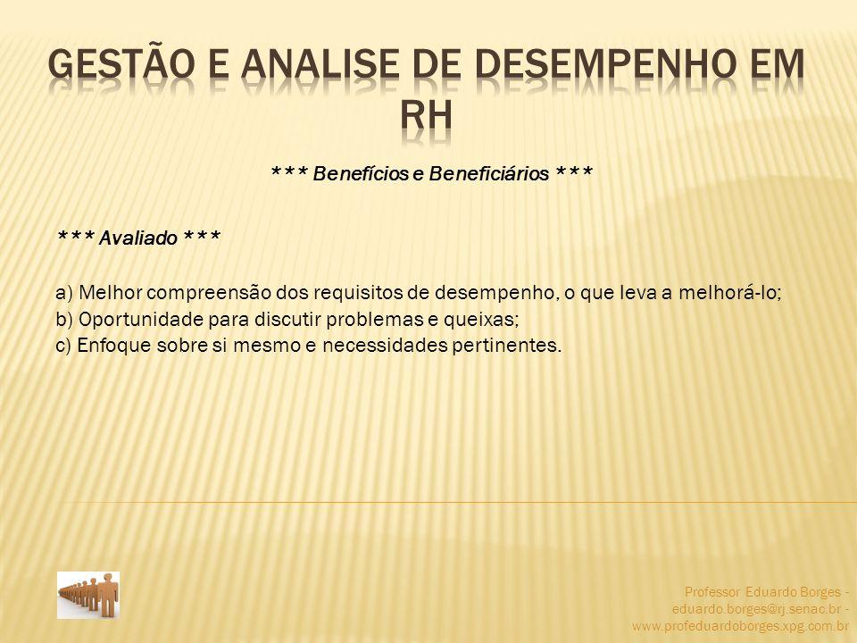 Professor Eduardo Borges - eduardo.borges@rj.senac.br - www.profeduardoborges.xpg.com.br *** Benefícios e Beneficiários *** *** Avaliado *** a) Melhor