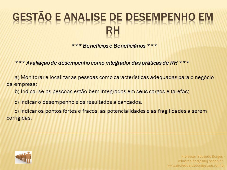 Professor Eduardo Borges - eduardo.borges@rj.senac.br - www.profeduardoborges.xpg.com.br *** Benefícios e Beneficiários *** *** Avaliação de desempenh