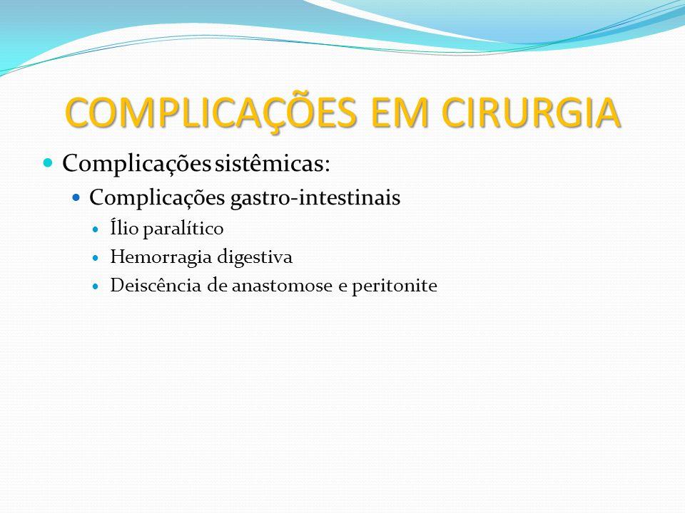 COMPLICAÇÕES EM CIRURGIA Complicações sistêmicas: Complicações gênito-urinárias Retenção urinária Insuficiência renal