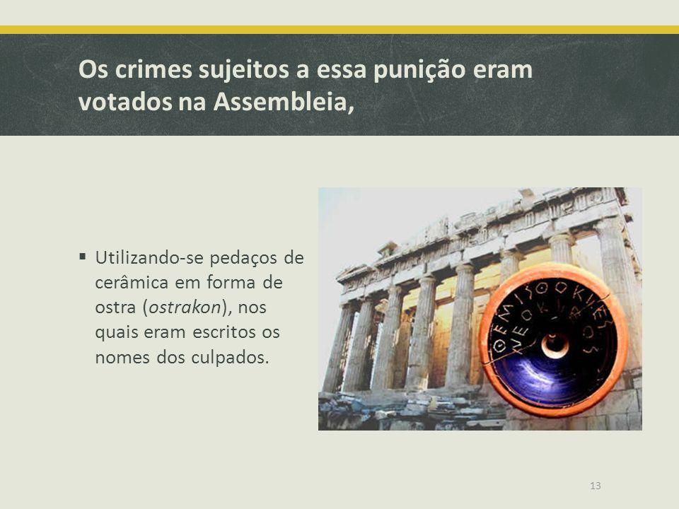 Os crimes sujeitos a essa punição eram votados na Assembleia, Utilizando-se pedaços de cerâmica em forma de ostra (ostrakon), nos quais eram escritos