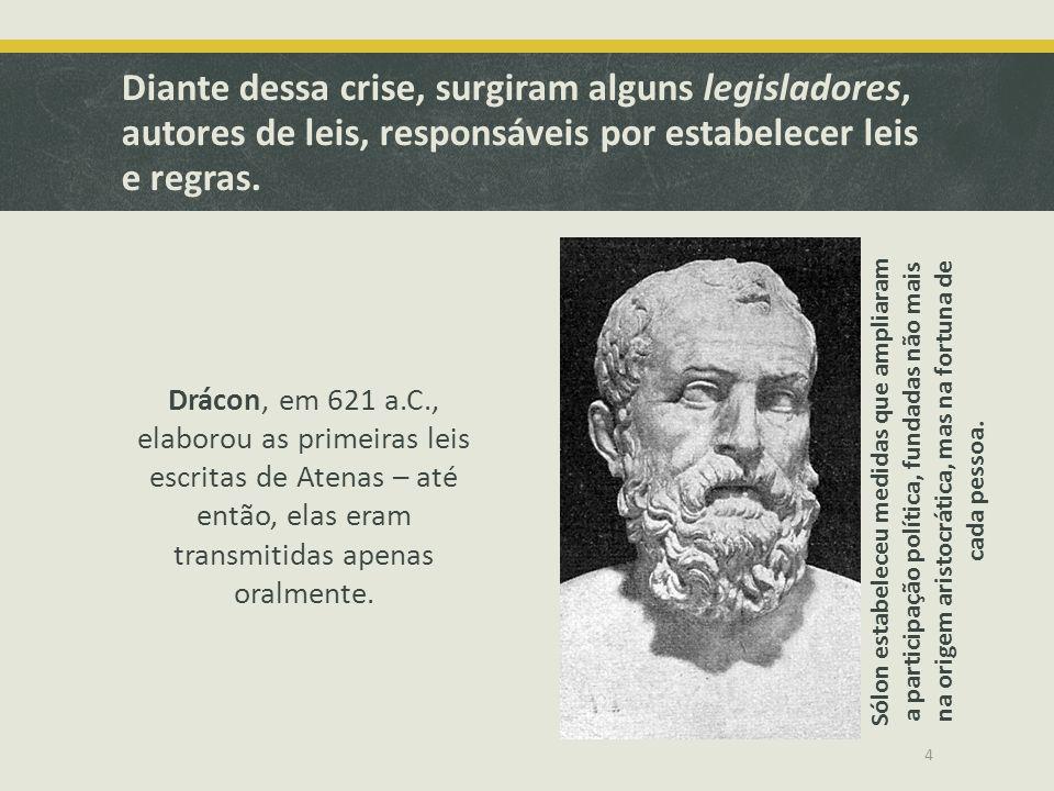15 Legisladores Drácon Primeiras leis; Leis extremamente severas; Privilégios dos eupátridas.