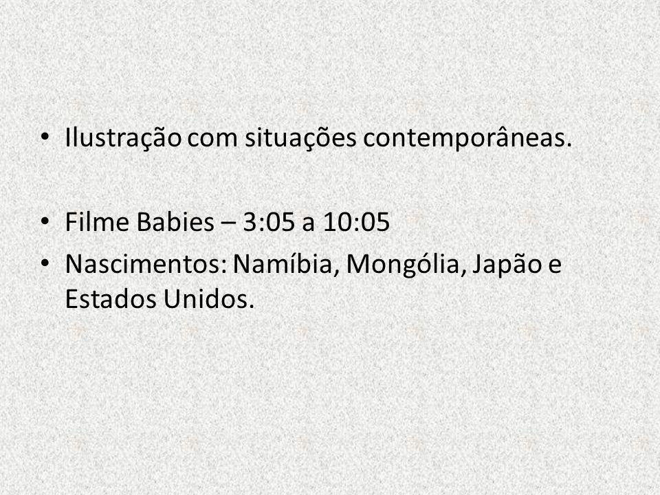 Ilustração com situações contemporâneas. Filme Babies – 3:05 a 10:05 Nascimentos: Namíbia, Mongólia, Japão e Estados Unidos.