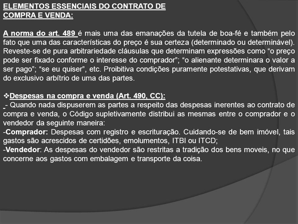 ELEMENTOS ESSENCIAIS DO CONTRATO DE COMPRA E VENDA: A norma do art.