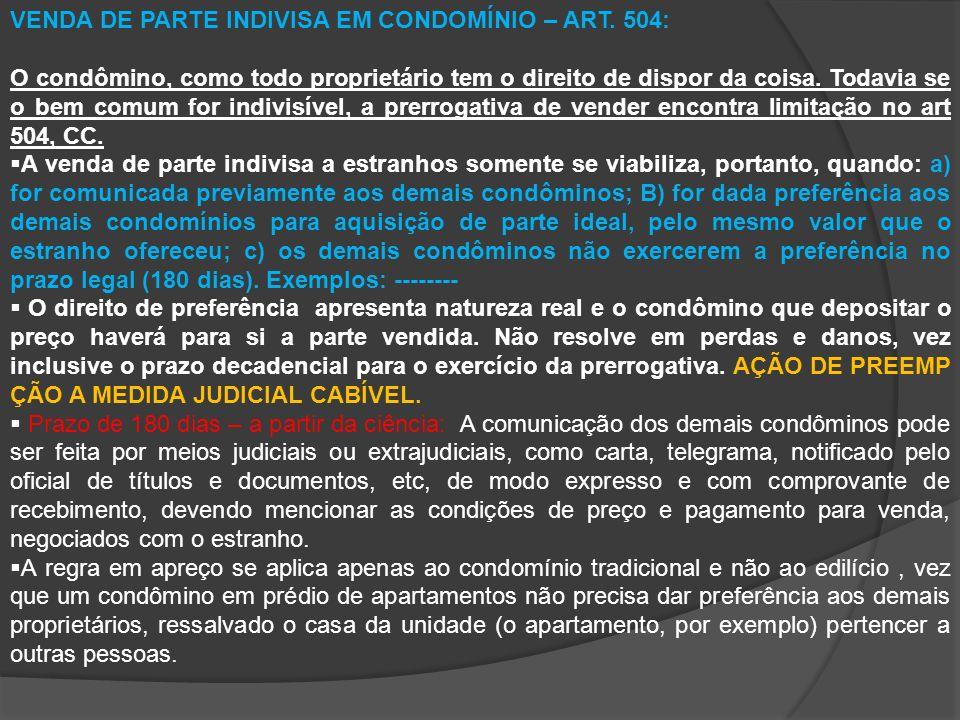 VENDA DE PARTE INDIVISA EM CONDOMÍNIO – ART.