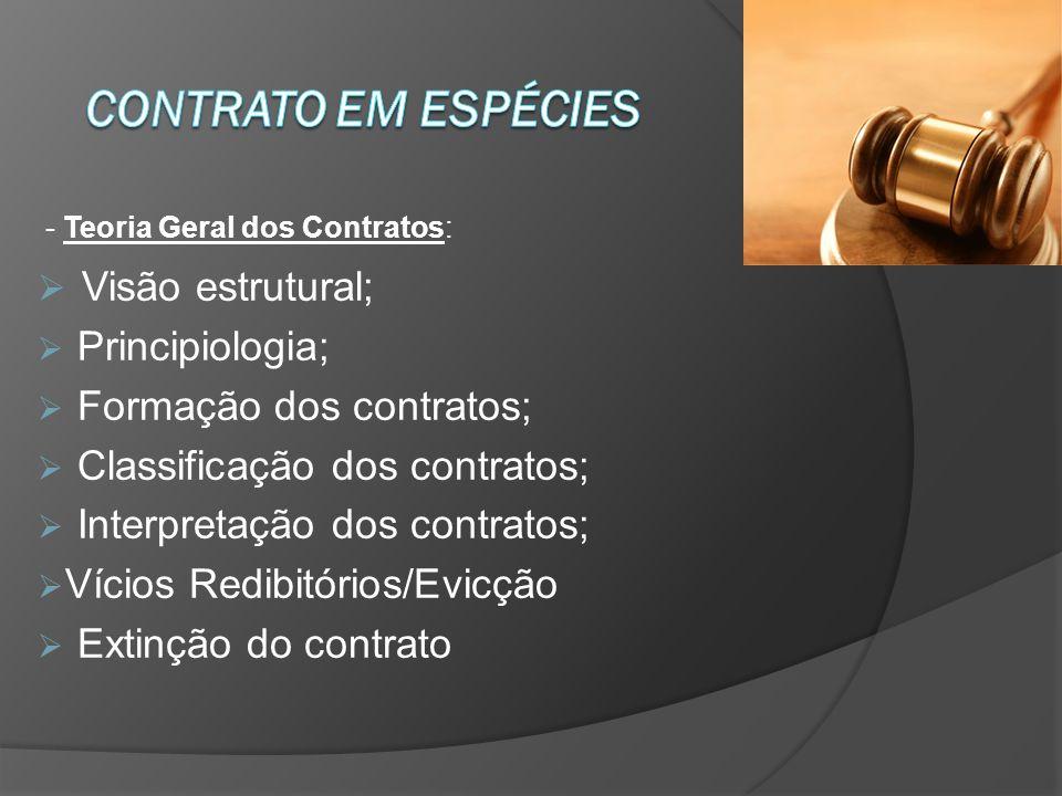 - Teoria Geral dos Contratos: Visão estrutural; Principiologia; Formação dos contratos; Classificação dos contratos; Interpretação dos contratos; Vícios Redibitórios/Evicção Extinção do contrato