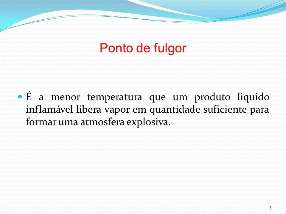 Ponto de fulgor É a menor temperatura que um produto liquido inflamável libera vapor em quantidade suficiente para formar uma atmosfera explosiva. 5
