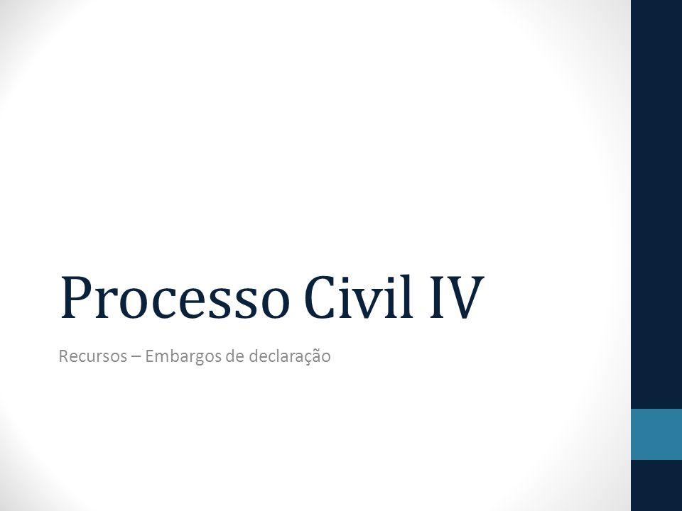 Processo Civil IV Recursos – Embargos de declaração