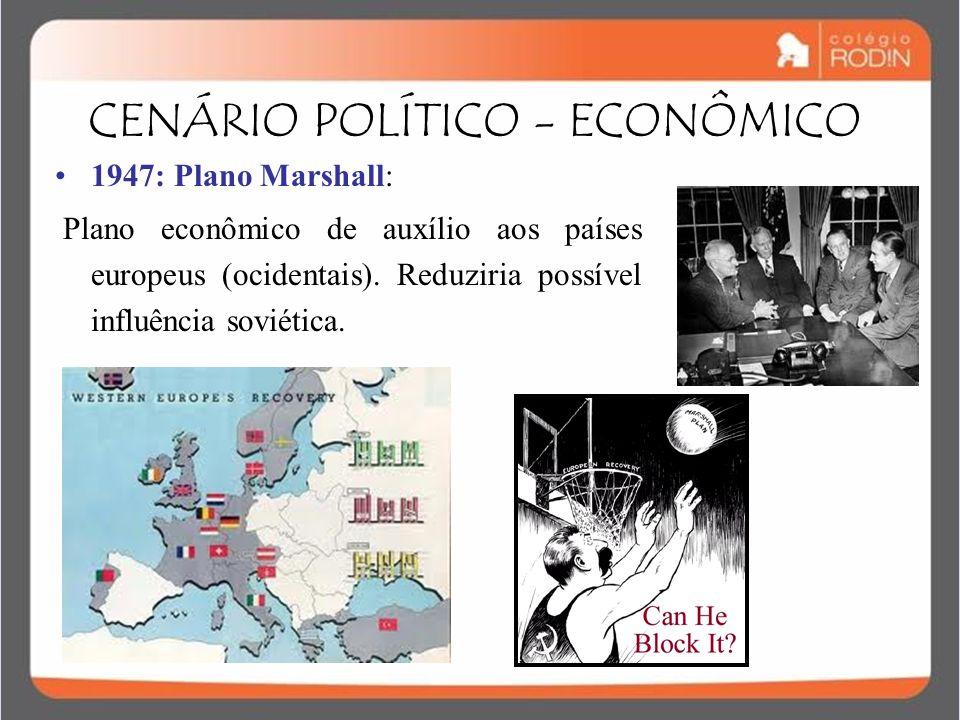 IDADE CONTEMPORÂNEA GUERRA FRIA (1945 – 1989) 1947: Plano Marshall: Plano econômico de auxílio aos países europeus (ocidentais). Reduziria possível in